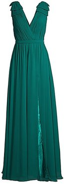 Shoulder Bow Crepe Gown - Forest Green - Size 10