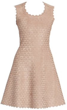 Moonlight Sleeveless Short Jacquard A-Line Dress - Nude - Size 36 (2-4)