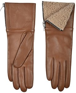 Touch Tech Leather & Shearling Gloves - Tan - Size Small
