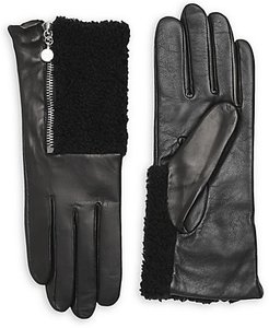 Touch Tech Metallic Leather & Shearling Gloves - Black - Size Medium