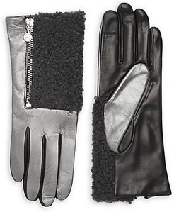 Touch Tech Metallic Leather & Shearling Gloves - Silver - Size Medium