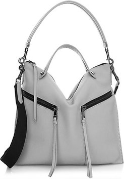 Trigger Convertible Leather Hobo Bag - Black