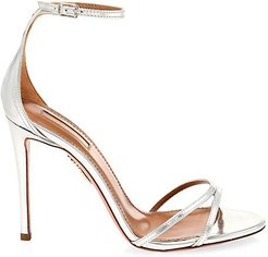 Purist Metallic Leather Ankle-Strap Sandals - Silver - Size 35 (5)