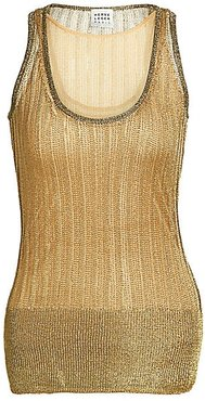 Metallic Knit Tank Top - Gold - Size Small