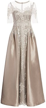 Floral Lace Embroidered Tulle & Satin A-Line Gown - Taupe - Size 2