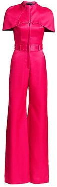 Brandon Maxwell Women's Cape-Sleeve Virgin Wool & Silk Jumpsuit - Bright Rose - Size 8