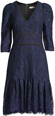 Miran Paisley Lace Dress - Navy Jet - Size 2