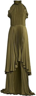 Tiffany Pleated Halter Gown - Olive - Size 4