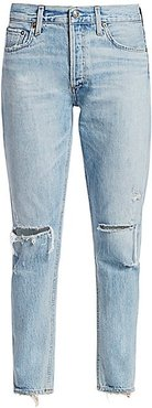 Jamie High-Rise Distressed Ankle Classic Jeans - Shakedown - Size 28 (4-6)