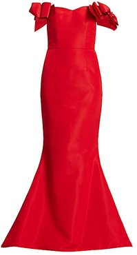 Silk Faille Off-The-Shoulder Bow Gown - Red - Size 6