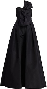 Silk Faille Twisted Bow Jumpsuit with Convertible Skirt - Black - Size 10