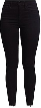The Danielle High-Rise Skinny Zip Jeans - Black - Size 30 (8-10)
