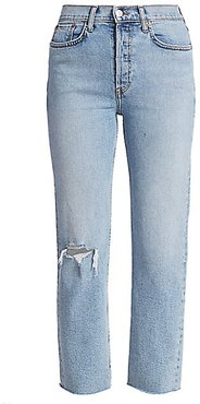 Comfort-Stretch High-Rise Stove Pipe Jeans - Cloudy Blue - Size 29 (6-8)