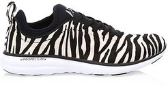 Phantom Zebra-Stripe Calf Hair Leather Sneakers - Zebra - Size 10