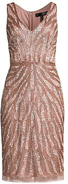 Sequin Beaded Cocktail Dress - Ice Pink - Size 4