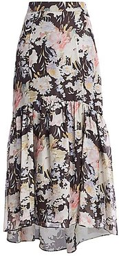 Rosie Floral Silk Midi High-Low Flounce Skirt - June Blooms - Size 12