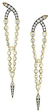 Two-Tone & Cubic Zirconia Tapered Drop Earrings - Gold