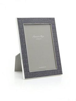 Croc-Embossed Photo Frame - Dark Taupe - Size 5X7