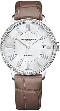 Classima Stainless Steel & Alligator Strap Watch - Silver Brown