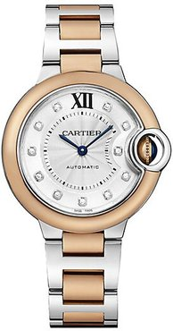 Ballon Bleu de Cartier Diamond, 18K Rose Gold & Stainless Steel Bracelet Watch
