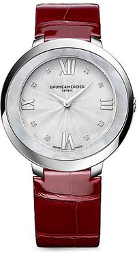 Promesse Stainless Steel & Alligator Strap Watch - Silver Red