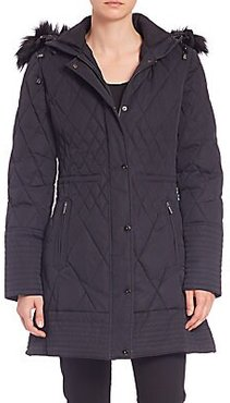 Quilted Fur-Trimmed Coat - Black - Size XS