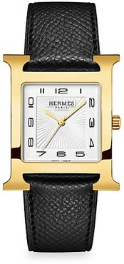 Heure H 30.5MM Goldplated & Leather Strap Watch - Black