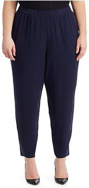 System Slouchy Silk Ankle Pants - Midnight - Size 1X (14-16)