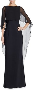 Scuba Gown Chiffon Overlay Dress - Black - Size 4