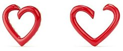 18K Gold & Red Enamel Cable Heart Earrings - Red