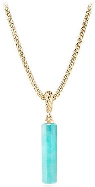 Barrels Gemstone & 18K Gold Amulet Pendant - Amazonite