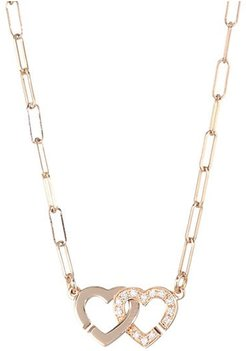 Double Coeurs Diamond & 18K Rose Gold Chain Necklace - Rose Gold