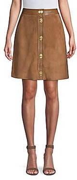 Suede A-line Skirt - Hunting Brown - Size 42 (12)