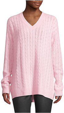 COLLECTION Cashmere Cable Knit V-Neck Sweater