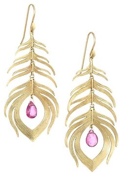 Tropical 14K Yellow Gold & Tourmaline Peacock Feather Earrings - Gold