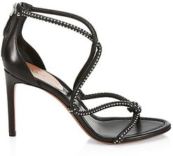 Studded Strappy Leather Sandals - Noir - Size 36.5 (6.5)