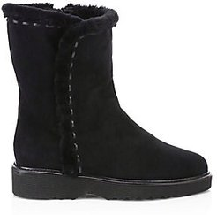 Kalena Suede Shearling Boots - Black - Size 8
