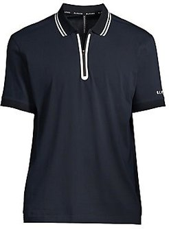 Heat Seal Zip Polo - Black White - Size Small