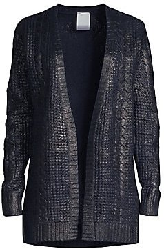 Cashmere Metallic Cabled Cardigan - Navy - Size Small