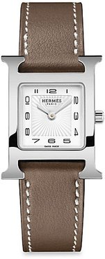 Heure H 21MM Stainless Steel & Leather Strap Watch - Brown