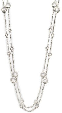 Long Double-Row Station Necklace/Rhodium - Silver