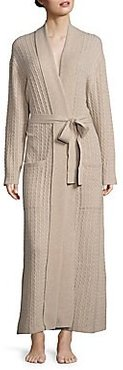 Long Cable Cashmere Robe - Oatmeal - Size Medium