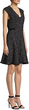 Sparkle Tweed Fit-And-Flare Dress