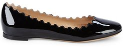 Scalloped Patent Leather Ballet Flats