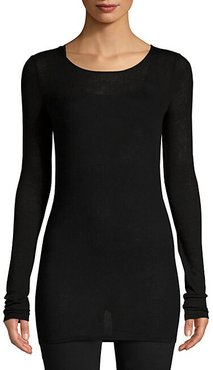 Long-Sleeve Stretch Cashmere-Blend Top