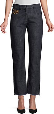 Straight-Leg Patch Jeans