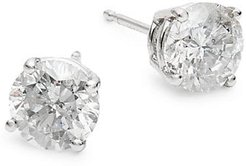 14K White Gold & 2 TCW Diamond Stud Earrings