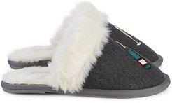 Faux Fur-Trim Slippers