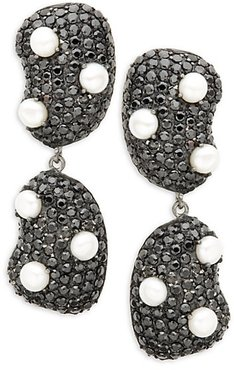 Sterling Silver, Black Spinel & 4MM Pearl Earrings