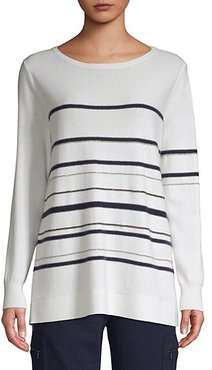 Cashmere Chain Stripe Long Sleeve Sweater